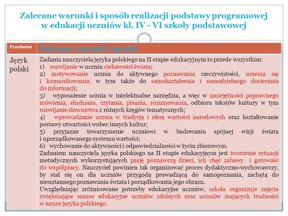 Zalecane warunki i sposób realizacji podstawy programowej w edukacji uczniów kl. IV - VI szkoły podstawowej Przedmiot Zalecane warunki i sposób Język