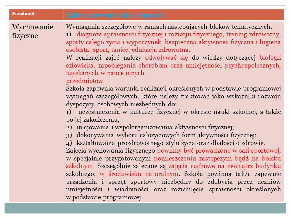 Przedmiot Zalecane warunki i sposób Wychowanie fizyczne Wymagania szczegółowe w ramach następujących bloków tematycznych: 1) diagnoza sprawności fizyc