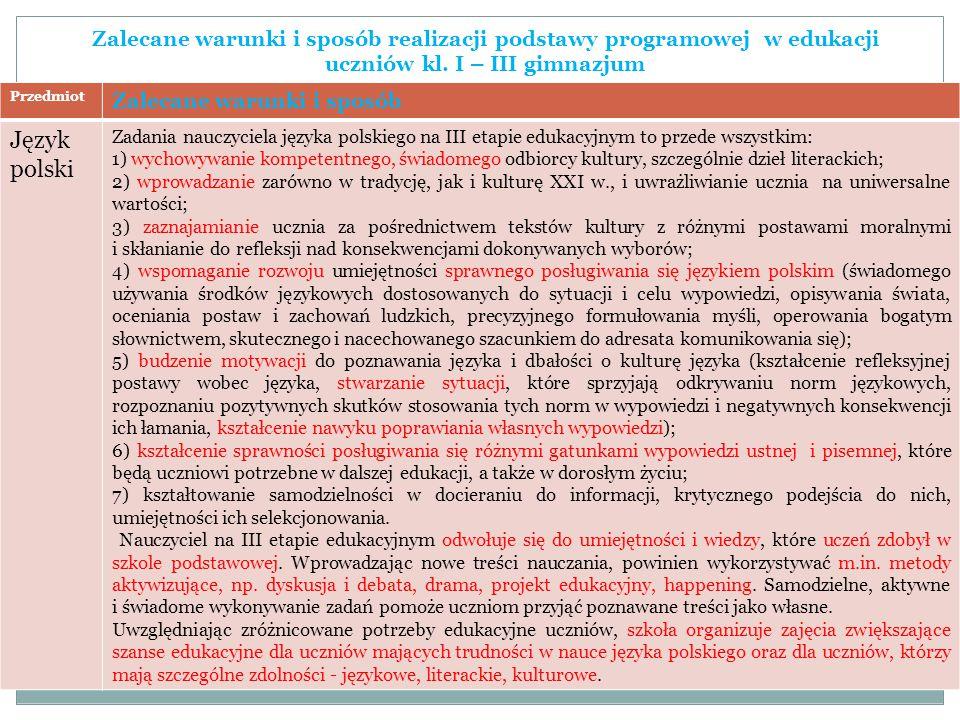 Zalecane warunki i sposób realizacji podstawy programowej w edukacji uczniów kl. I – III gimnazjum Przedmiot Zalecane warunki i sposób Język polski Za