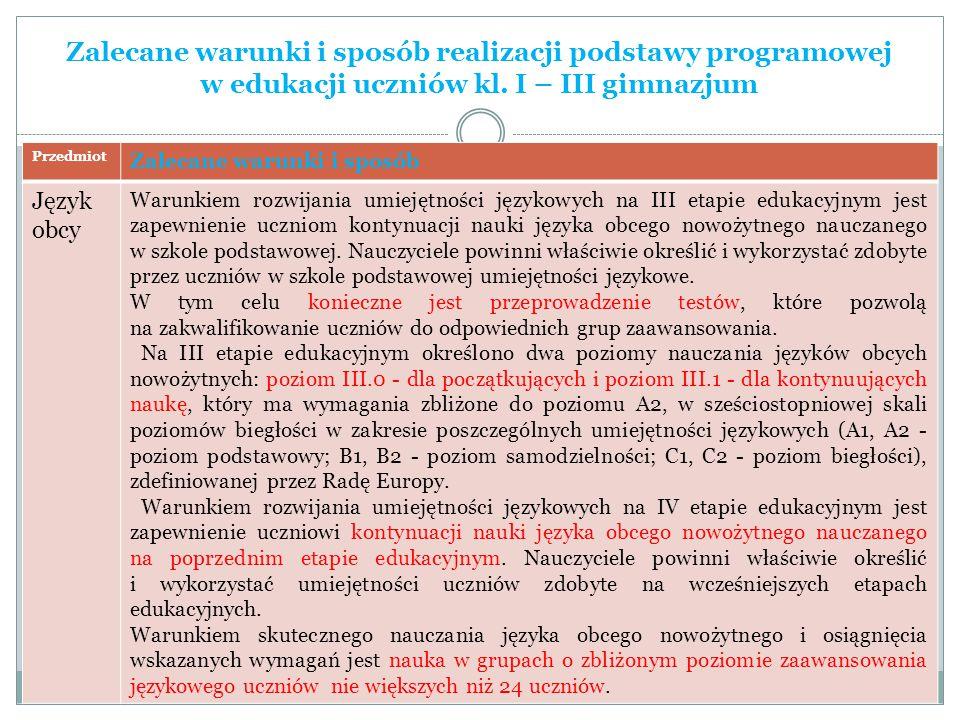 Zalecane warunki i sposób realizacji podstawy programowej w edukacji uczniów kl. I – III gimnazjum Przedmiot Zalecane warunki i sposób Język obcy Waru