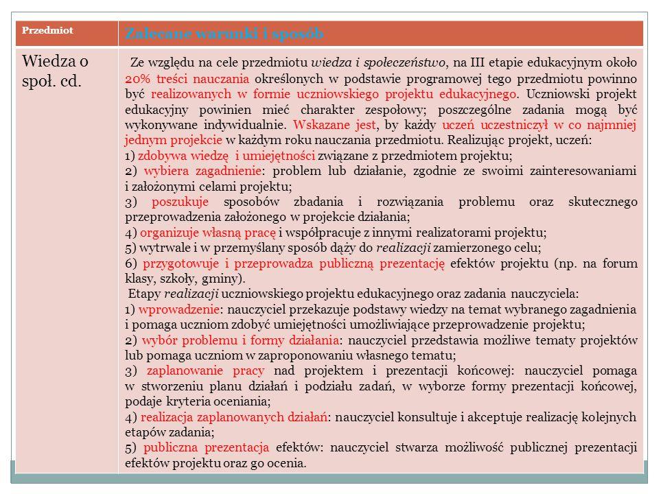 Przedmiot Zalecane warunki i sposób Wiedza o społ. cd. Ze względu na cele przedmiotu wiedza i społeczeństwo, na III etapie edukacyjnym około 20% treśc