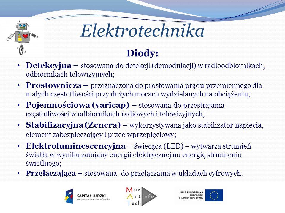 Elektrotechnika Diody: Detekcyjna – stosowana do detekcji (demodulacji) w radioodbiornikach, odbiornikach telewizyjnych; Prostownicza – przeznaczona d