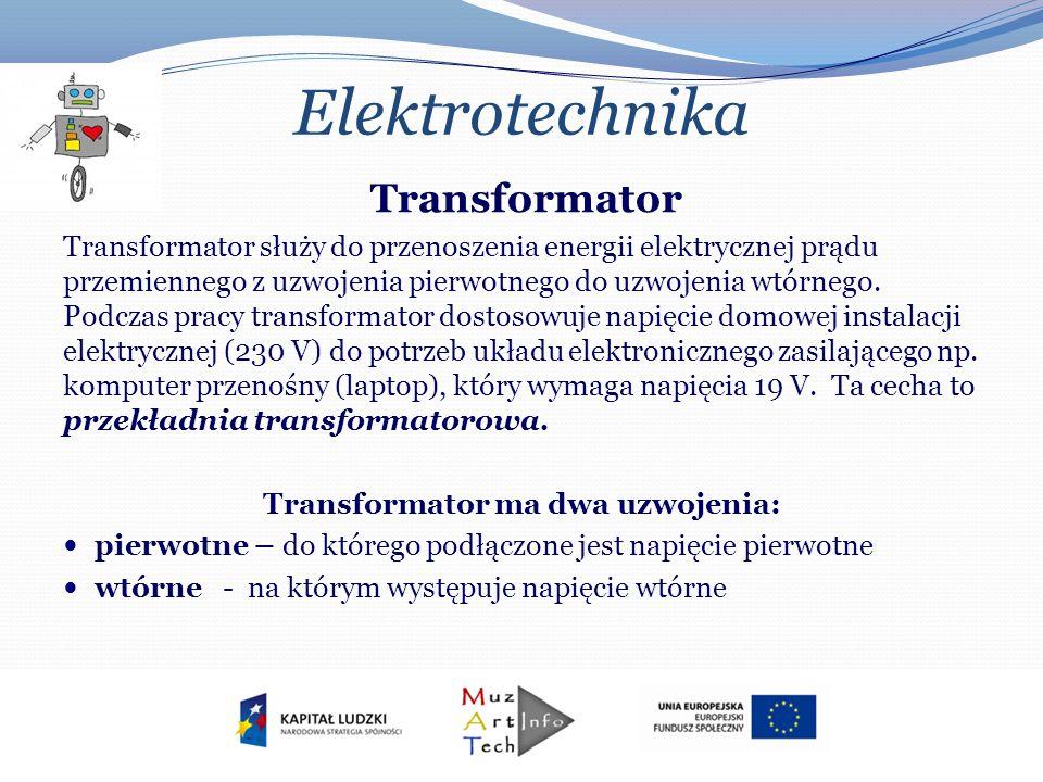 Elektrotechnika Transformator Transformator służy do przenoszenia energii elektrycznej prądu przemiennego z uzwojenia pierwotnego do uzwojenia wtórneg