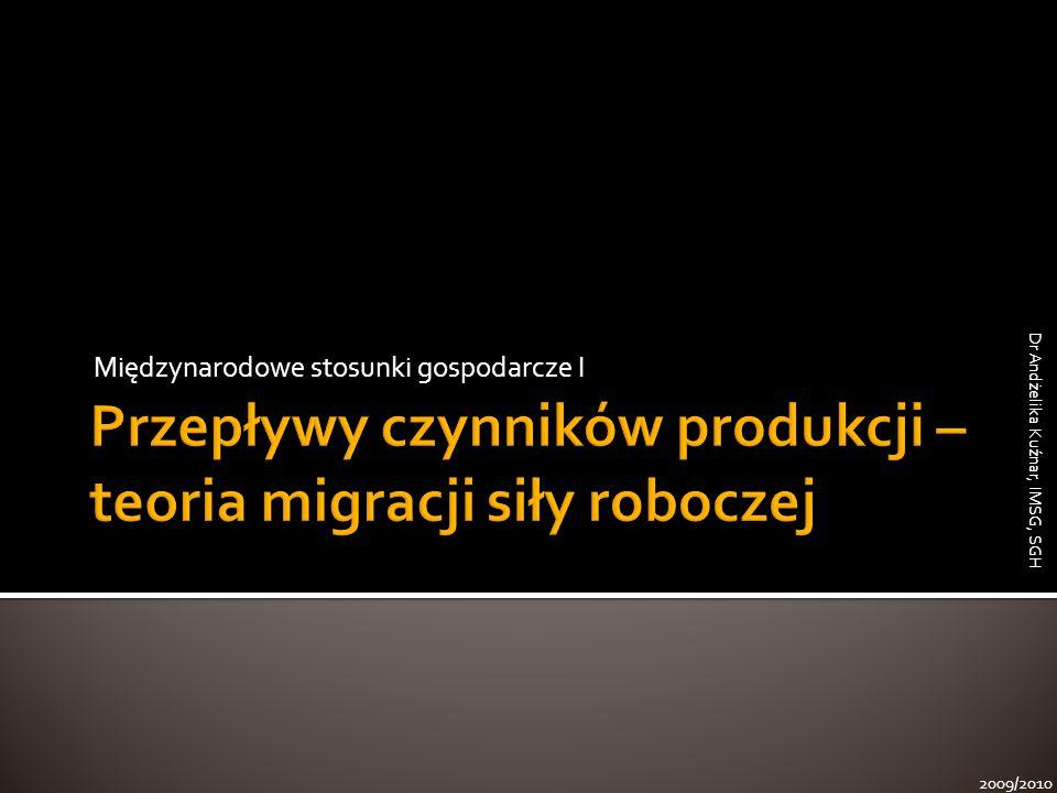 Międzynarodowe stosunki gospodarcze I 2009/2010 Dr Andżelika Kuźnar, IMSG, SGH