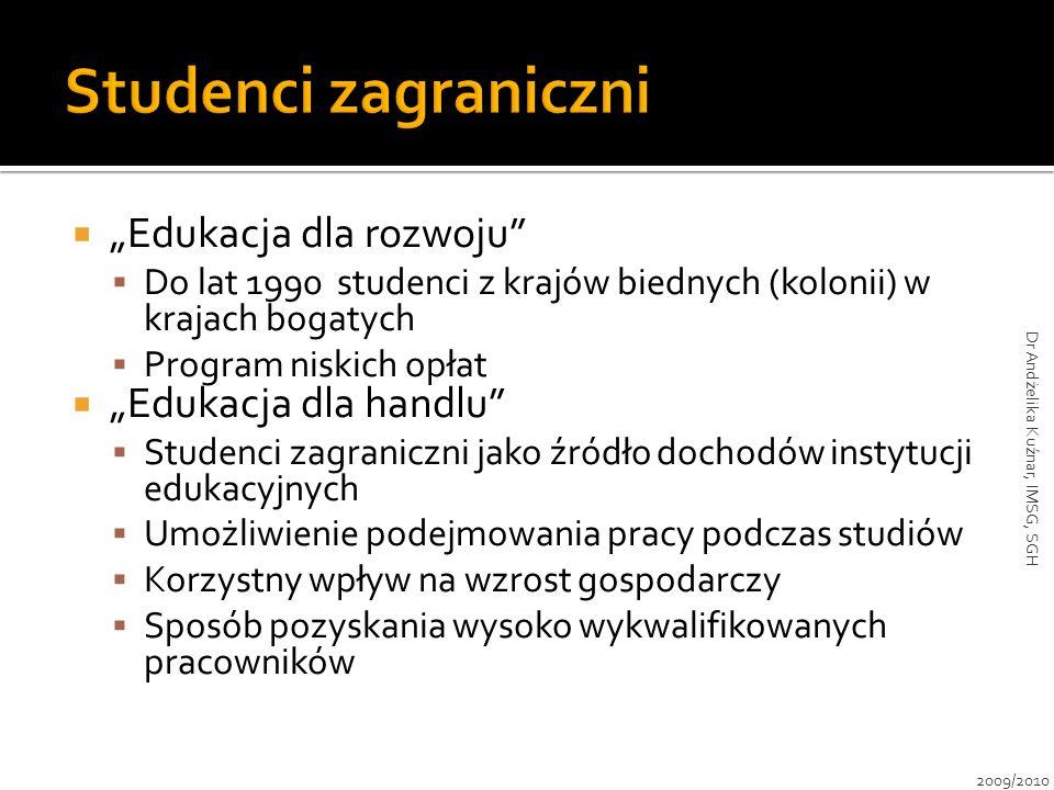 """ """"Edukacja dla rozwoju""""  Do lat 1990 studenci z krajów biednych (kolonii) w krajach bogatych  Program niskich opłat  """"Edukacja dla handlu""""  Stude"""