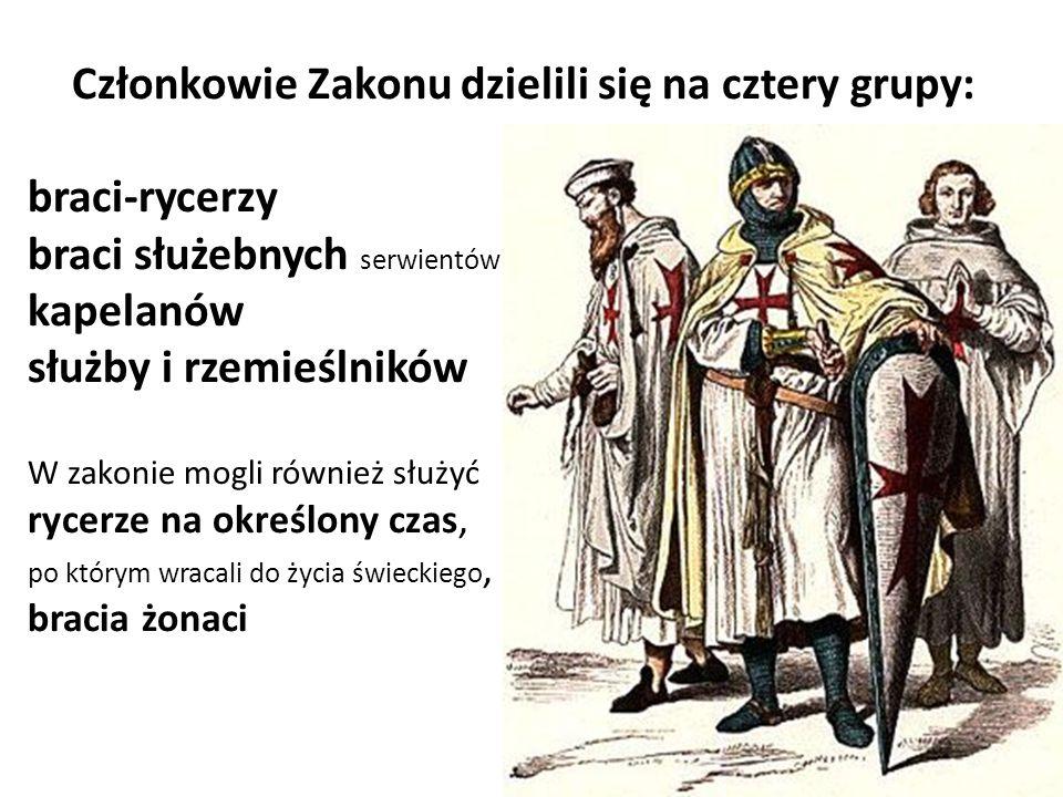 Członkowie Zakonu dzielili się na cztery grupy: braci-rycerzy braci służebnych serwientów (fratres servientes armigerii), kapelanów służby i rzemieśln