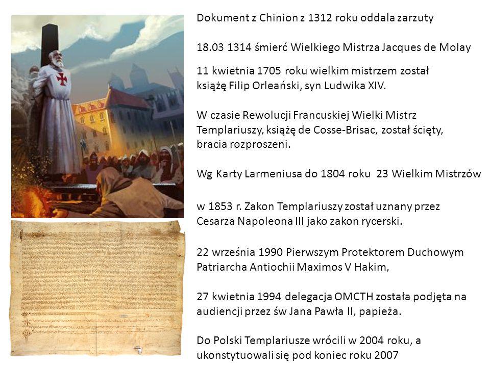 Dokument z Chinion z 1312 roku oddala zarzuty 18.03 1314 śmierć Wielkiego Mistrza Jacques de Molay w 1853 r. Zakon Templariuszy został uznany przez Ce