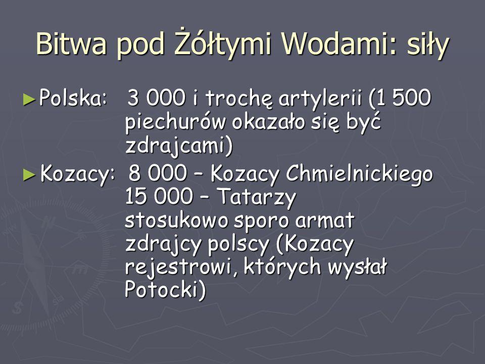 Bitwa pod Żółtymi Wodami: siły ► Polska: 3 000 i trochę artylerii (1 500 piechurów okazało się być zdrajcami) ► Kozacy: 8 000 – Kozacy Chmielnickiego