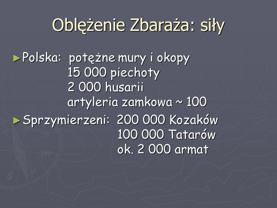 Oblężenie Zbaraża: siły ► Polska: potężne mury i okopy 15 000 piechoty 2 000 husarii artyleria zamkowa ~ 100 ► Sprzymierzeni: 200 000 Kozaków 100 000