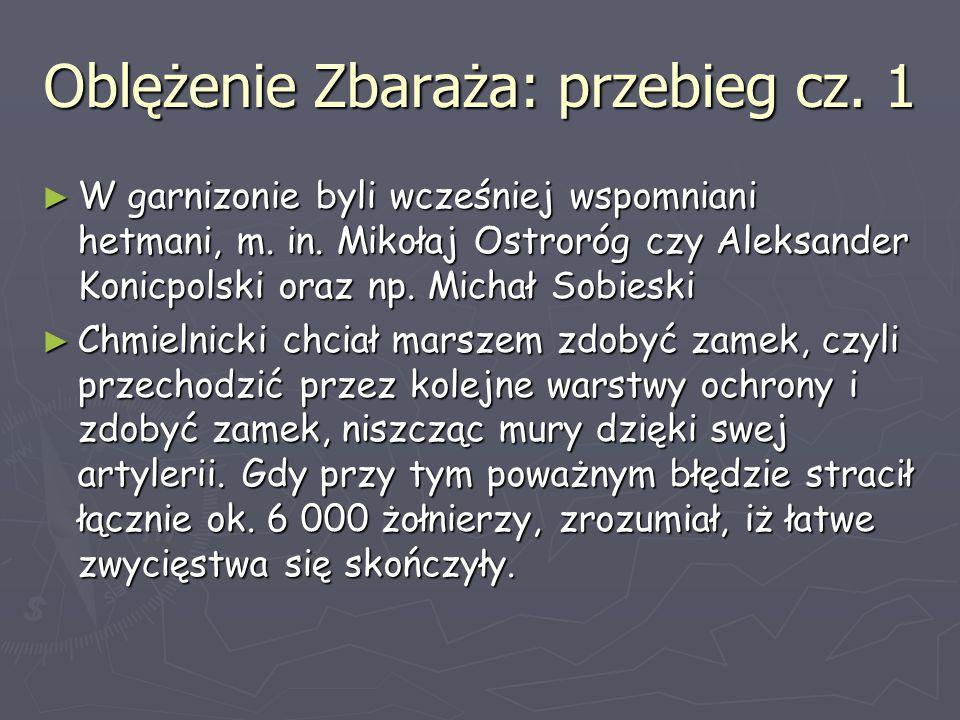 Oblężenie Zbaraża: przebieg cz. 1 ► W garnizonie byli wcześniej wspomniani hetmani, m. in. Mikołaj Ostroróg czy Aleksander Konicpolski oraz np. Michał