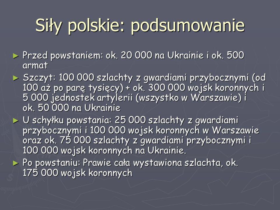 Siły polskie: podsumowanie ► Przed powstaniem: ok. 20 000 na Ukrainie i ok. 500 armat ► Szczyt: 100 000 szlachty z gwardiami przybocznymi (od 100 aż p
