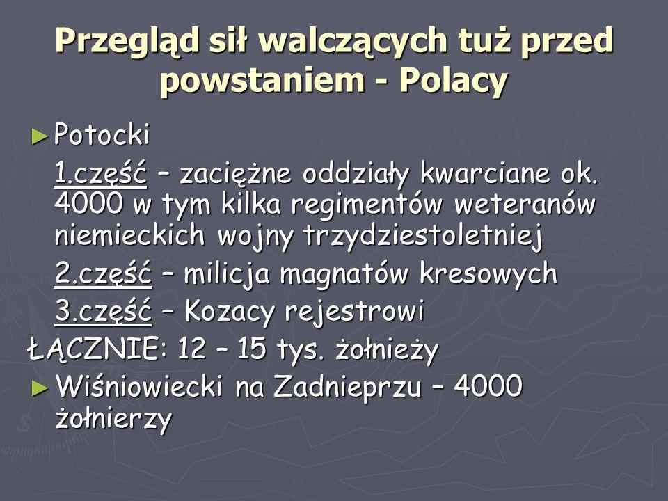 Przegląd sił walczących tuż przed powstaniem - Polacy ► Potocki 1.część – zaciężne oddziały kwarciane ok. 4000 w tym kilka regimentów weteranów niemie
