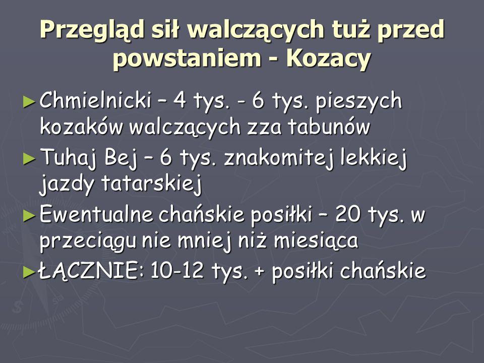 Przegląd sił walczących tuż przed powstaniem - Kozacy ► Chmielnicki – 4 tys. - 6 tys. pieszych kozaków walczących zza tabunów ► Tuhaj Bej – 6 tys. zna