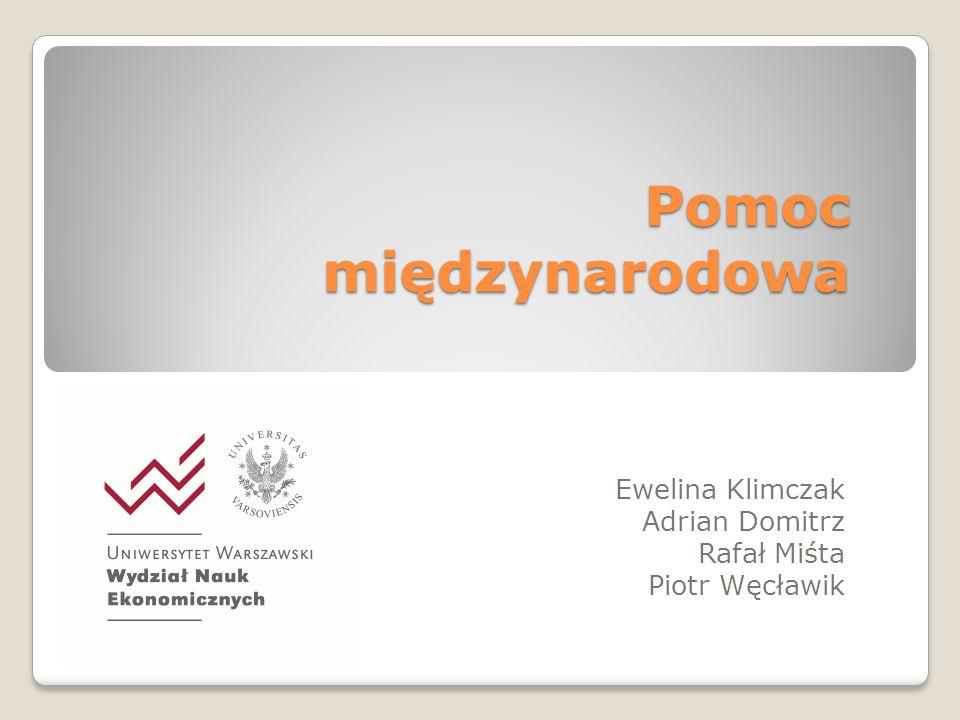 Pomoc międzynarodowa Ewelina Klimczak Adrian Domitrz Rafał Miśta Piotr Węcławik