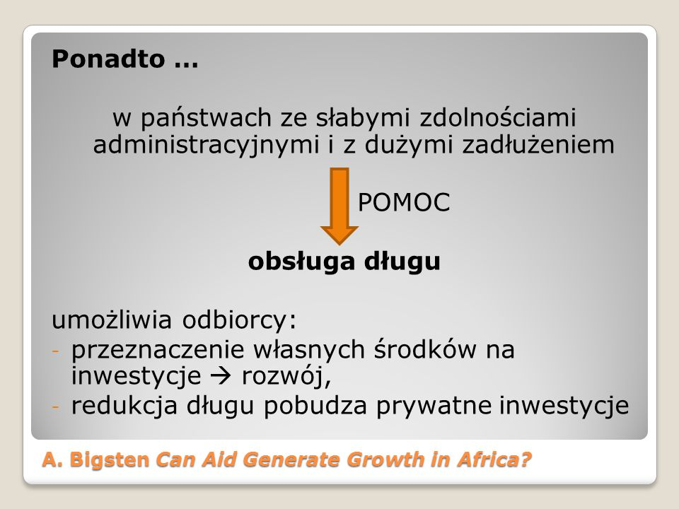A.Bigsten Can Aid Generate Growth in Africa.
