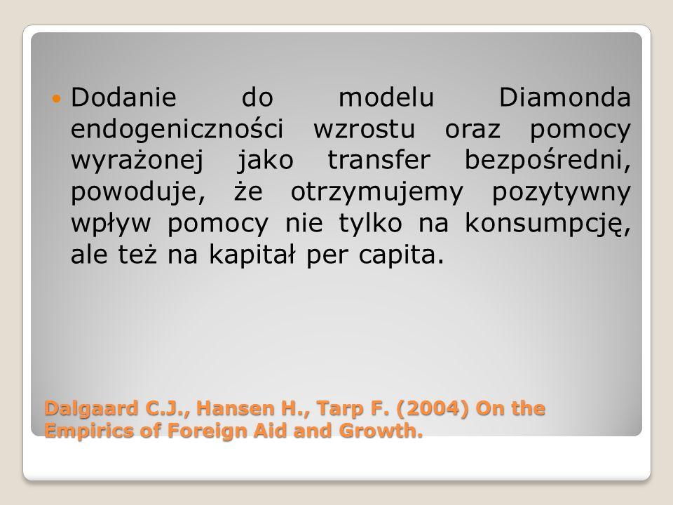 Dodanie do modelu Diamonda endogeniczności wzrostu oraz pomocy wyrażonej jako transfer bezpośredni, powoduje, że otrzymujemy pozytywny wpływ pomocy ni
