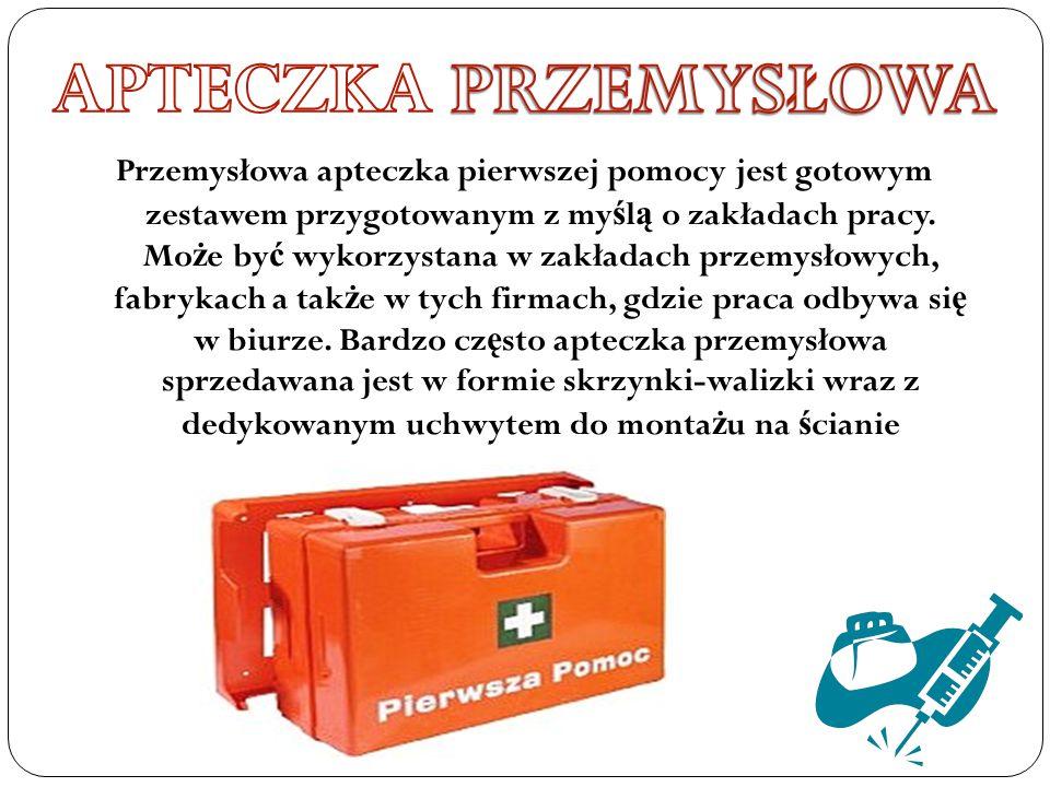 Przemysłowa apteczka pierwszej pomocy jest gotowym zestawem przygotowanym z my ś l ą o zakładach pracy. Mo ż e by ć wykorzystana w zakładach przemysło