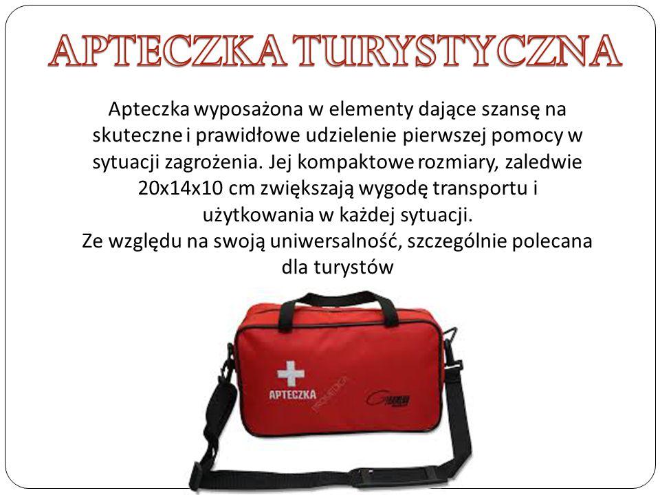 Apteczka wyposażona w elementy dające szansę na skuteczne i prawidłowe udzielenie pierwszej pomocy w sytuacji zagrożenia. Jej kompaktowe rozmiary, zal