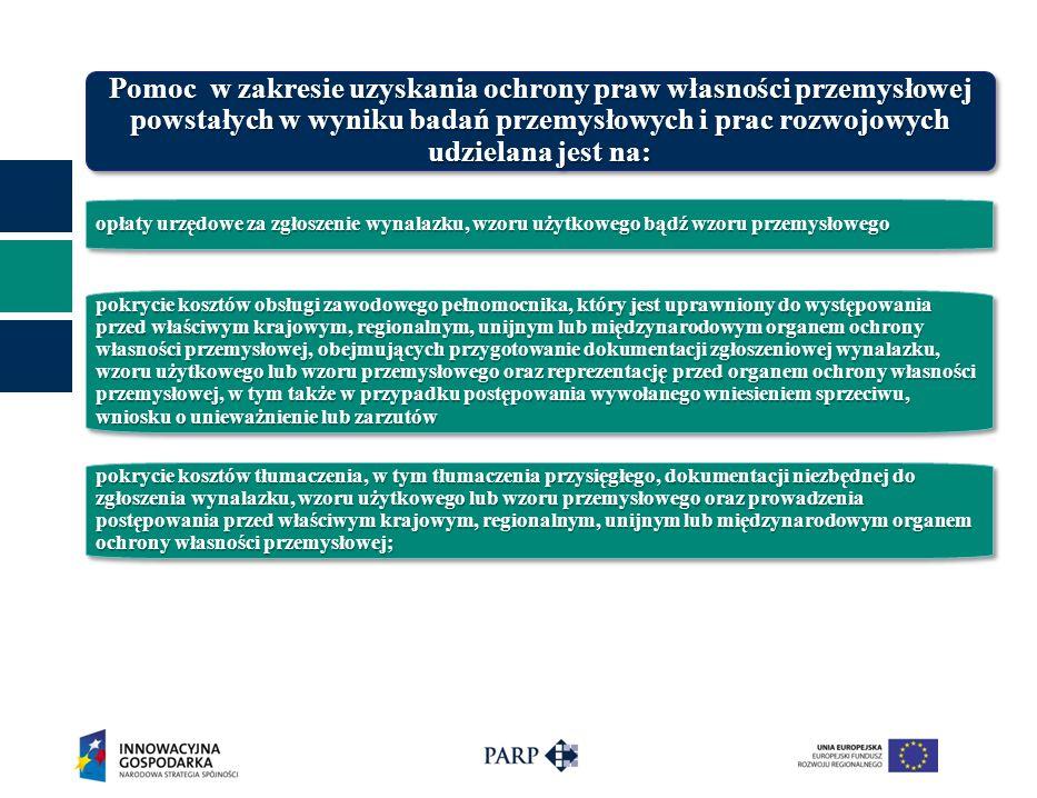 opłaty urzędowe za zgłoszenie wynalazku, wzoru użytkowego bądź wzoru przemysłowego Pomoc w zakresie uzyskania ochrony praw własności przemysłowej powstałych w wyniku badań przemysłowych i prac rozwojowych udzielana jest na: pokrycie kosztów obsługi zawodowego pełnomocnika, który jest uprawniony do występowania przed właściwym krajowym, regionalnym, unijnym lub międzynarodowym organem ochrony własności przemysłowej, obejmujących przygotowanie dokumentacji zgłoszeniowej wynalazku, wzoru użytkowego lub wzoru przemysłowego oraz reprezentację przed organem ochrony własności przemysłowej, w tym także w przypadku postępowania wywołanego wniesieniem sprzeciwu, wniosku o unieważnienie lub zarzutów pokrycie kosztów tłumaczenia, w tym tłumaczenia przysięgłego, dokumentacji niezbędnej do zgłoszenia wynalazku, wzoru użytkowego lub wzoru przemysłowego oraz prowadzenia postępowania przed właściwym krajowym, regionalnym, unijnym lub międzynarodowym organem ochrony własności przemysłowej;