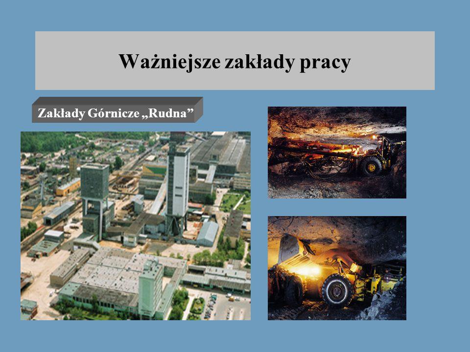 """Ważniejsze zakłady pracy Zakłady Górnicze """"Rudna"""" Zakłady Górnicze """"Polkowice – Sieroszowice"""" Spółdzielnia Mieszkaniowa """"CUPRUM"""" Zakład Energetyczny Z"""