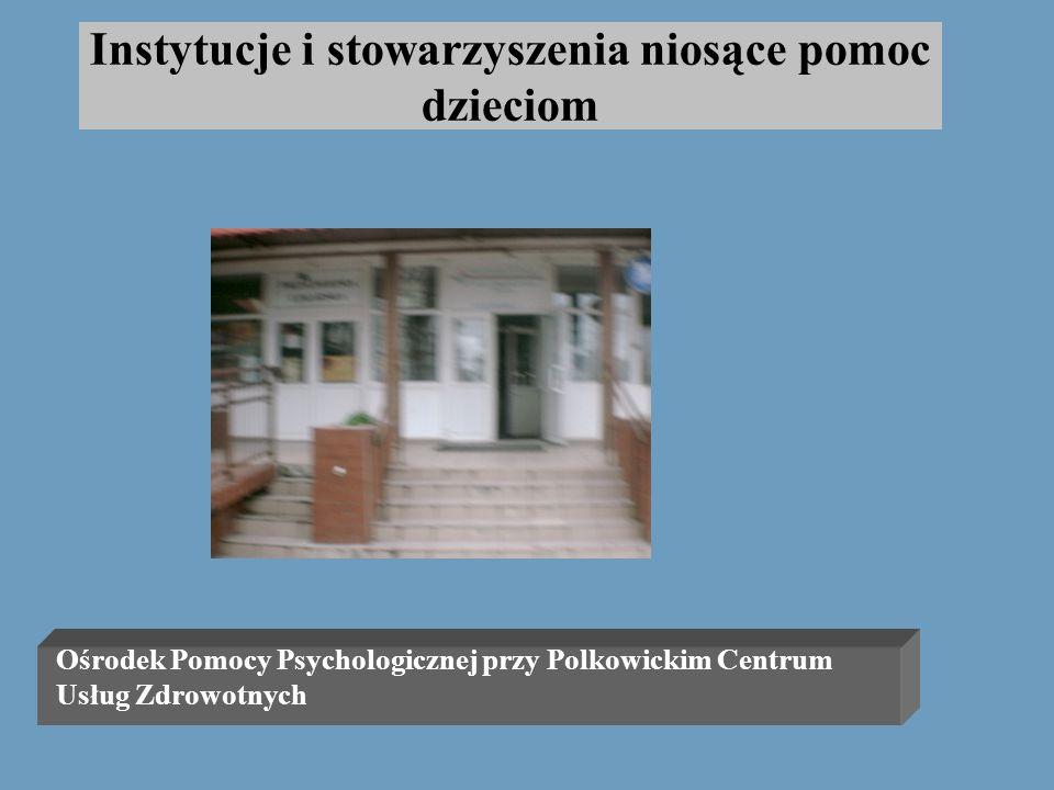Instytucje i stowarzyszenia niosące pomoc dzieciom Ośrodek Pomocy Psychologicznej przy Polkowickim Centrum Usług Zdrowotnych ul. K.B.Kominka7, tel.746