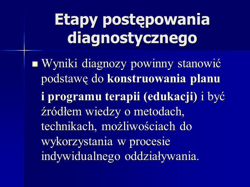 Etapy postępowania diagnostycznego Wyniki diagnozy powinny stanowić podstawę do konstruowania planu Wyniki diagnozy powinny stanowić podstawę do konst