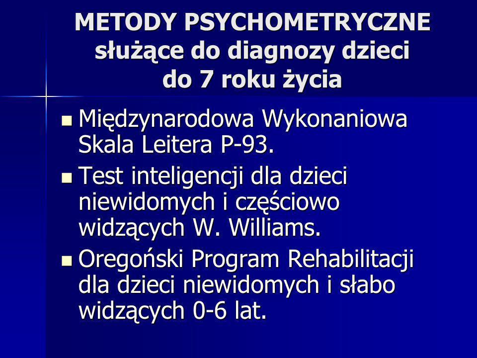 METODY PSYCHOMETRYCZNE służące do diagnozy dzieci do 7 roku życia Międzynarodowa Wykonaniowa Skala Leitera P-93. Międzynarodowa Wykonaniowa Skala Leit