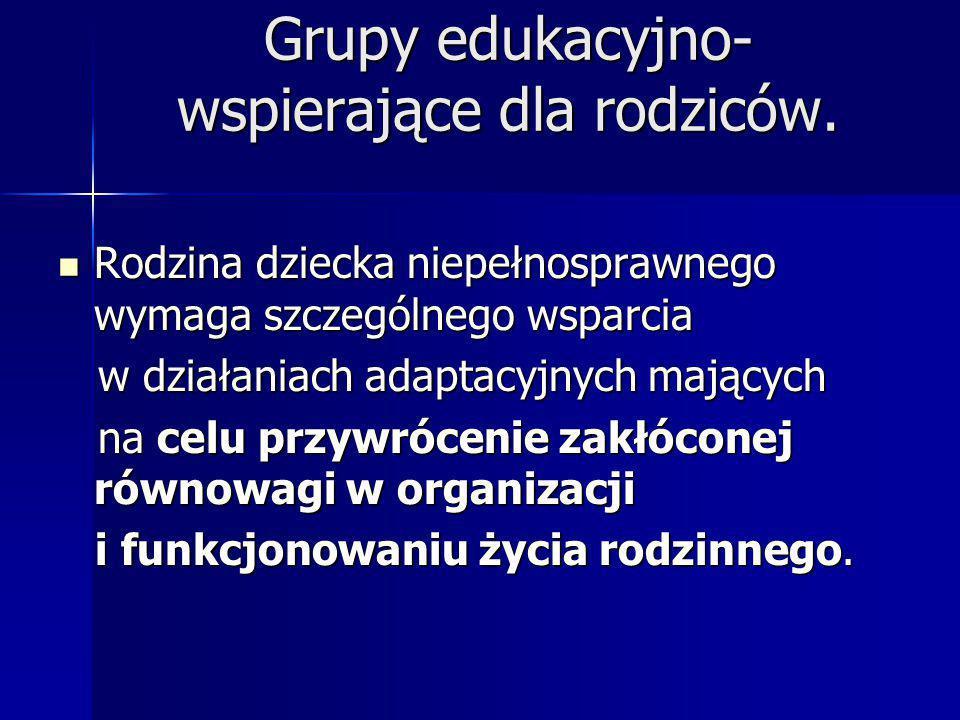 Grupy edukacyjno- wspierające dla rodziców.