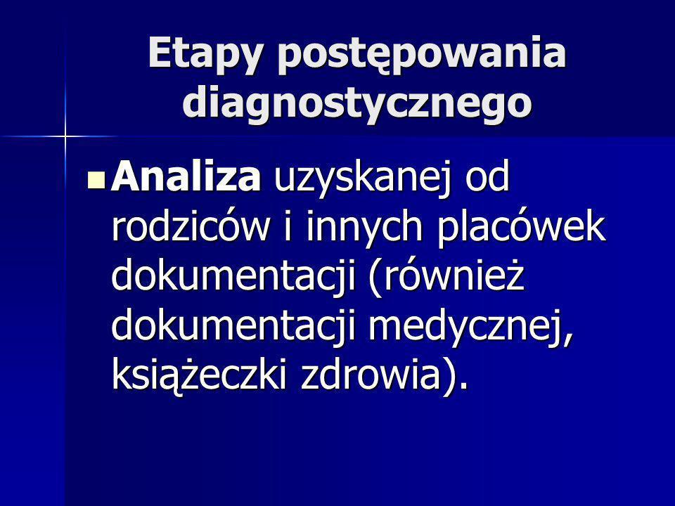 Etapy postępowania diagnostycznego Analiza uzyskanej od rodziców i innych placówek dokumentacji (również dokumentacji medycznej, książeczki zdrowia).