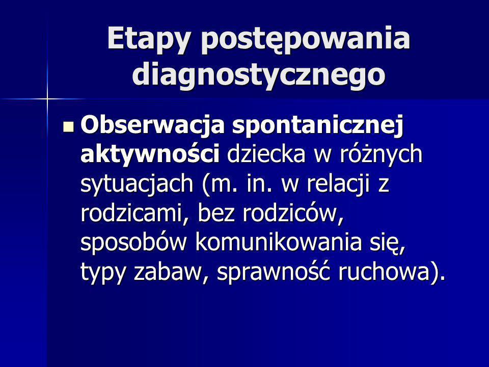 Etapy postępowania diagnostycznego Obserwacja spontanicznej aktywności dziecka w różnych sytuacjach (m.