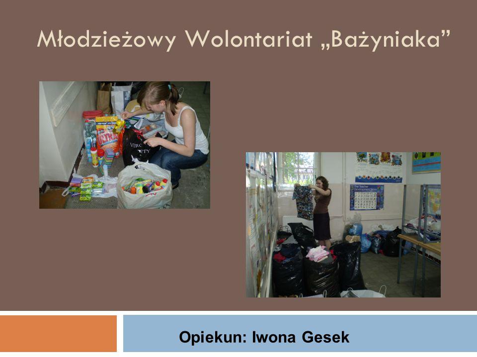 """Młodzieżowy Wolontariat """"Bażyniaka Opiekun: Iwona Gesek"""
