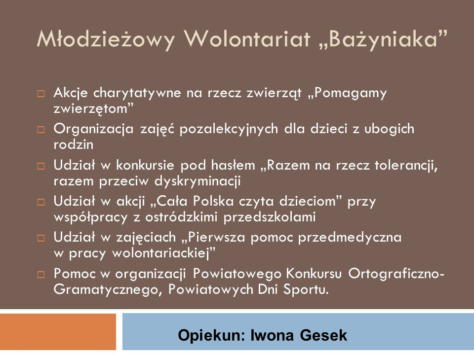 Szkolny Klub Wolontariatu Zespołu Szkół Rolniczych im.