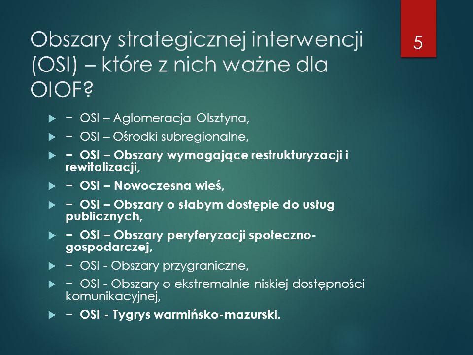 Obszary strategicznej interwencji (OSI) – które z nich ważne dla OIOF?  − OSI – Aglomeracja Olsztyna,  − OSI – Ośrodki subregionalne,  − OSI – Obsz