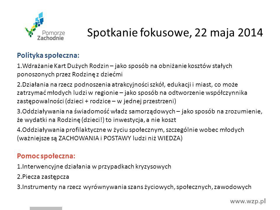 www.wzp.p l Spotkanie fokusowe, 22 maja 2014 Polityka społeczna: 1.Wdrażanie Kart Dużych Rodzin – jako sposób na obniżanie kosztów stałych ponoszonych
