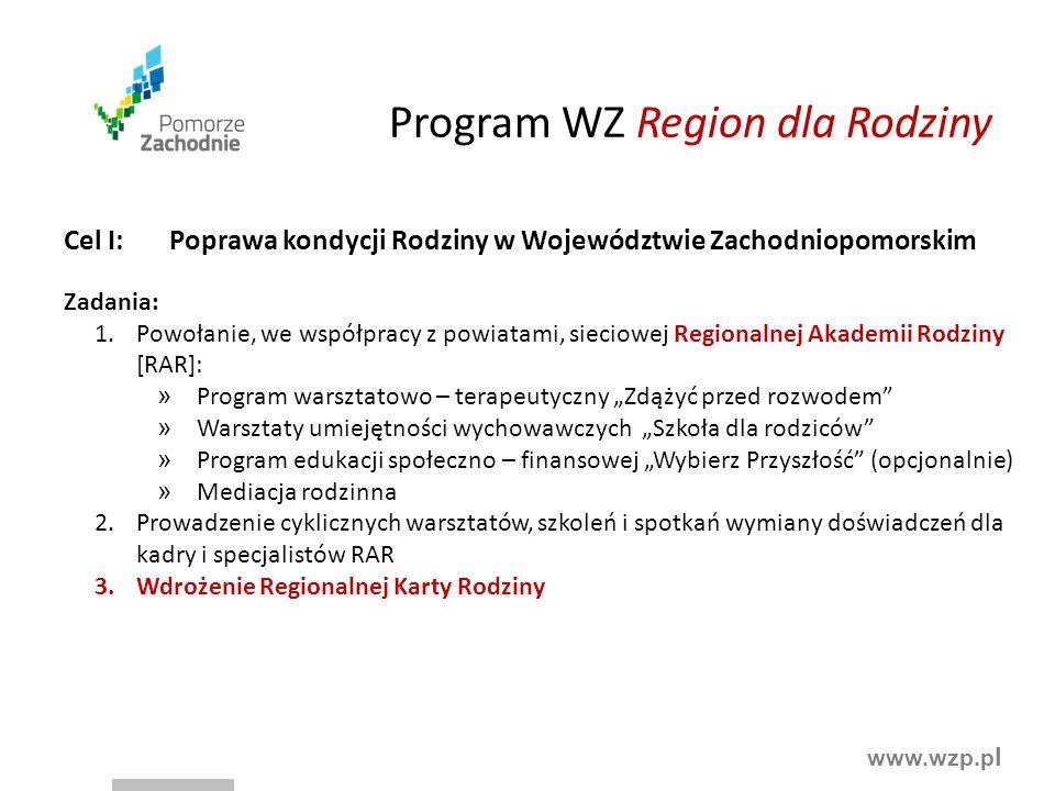 www.wzp.p l Program WZ Region dla Rodziny Cel I:Poprawa kondycji Rodziny w Województwie Zachodniopomorskim Zadania: 1.Powołanie, we współpracy z powia