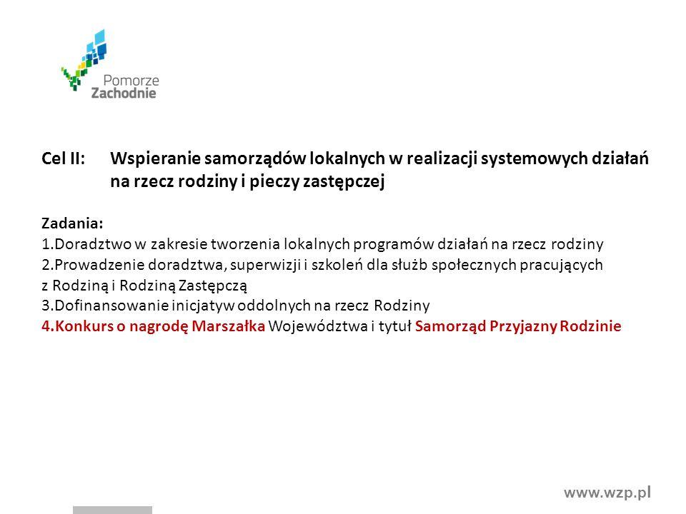 www.wzp.p l Cel II:Wspieranie samorządów lokalnych w realizacji systemowych działań na rzecz rodziny i pieczy zastępczej Zadania: 1.Doradztwo w zakres