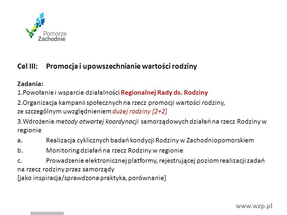 www.wzp.p l Cel III:Promocja i upowszechnianie wartości rodziny Zadania: 1.Powołanie i wsparcie działalności Regionalnej Rady ds. Rodziny 2.Organizacj