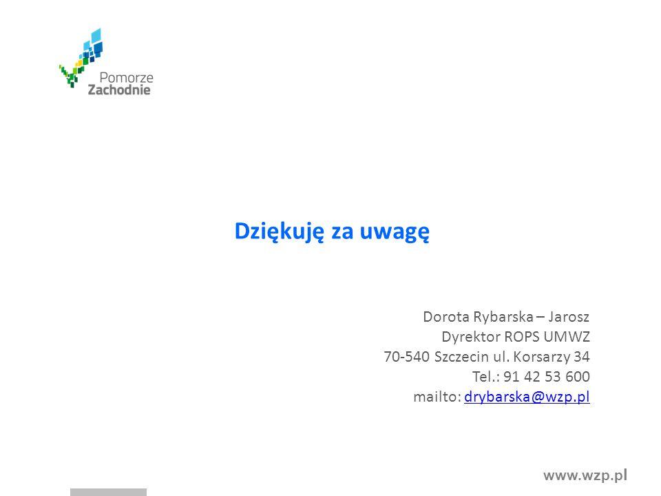 www.wzp.p l Dziękuję za uwagę Dorota Rybarska – Jarosz Dyrektor ROPS UMWZ 70-540 Szczecin ul. Korsarzy 34 Tel.: 91 42 53 600 mailto: drybarska@wzp.pld