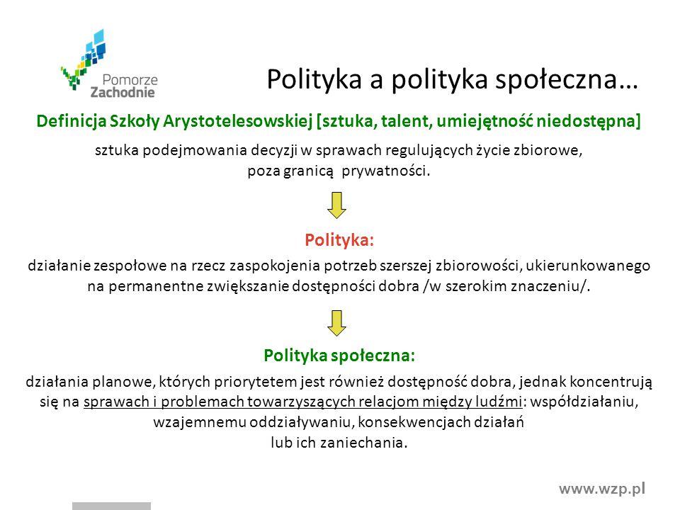 www.wzp.p l Polityka a polityka społeczna… Definicja Szkoły Arystotelesowskiej [sztuka, talent, umiejętność niedostępna] sztuka podejmowania decyzji w