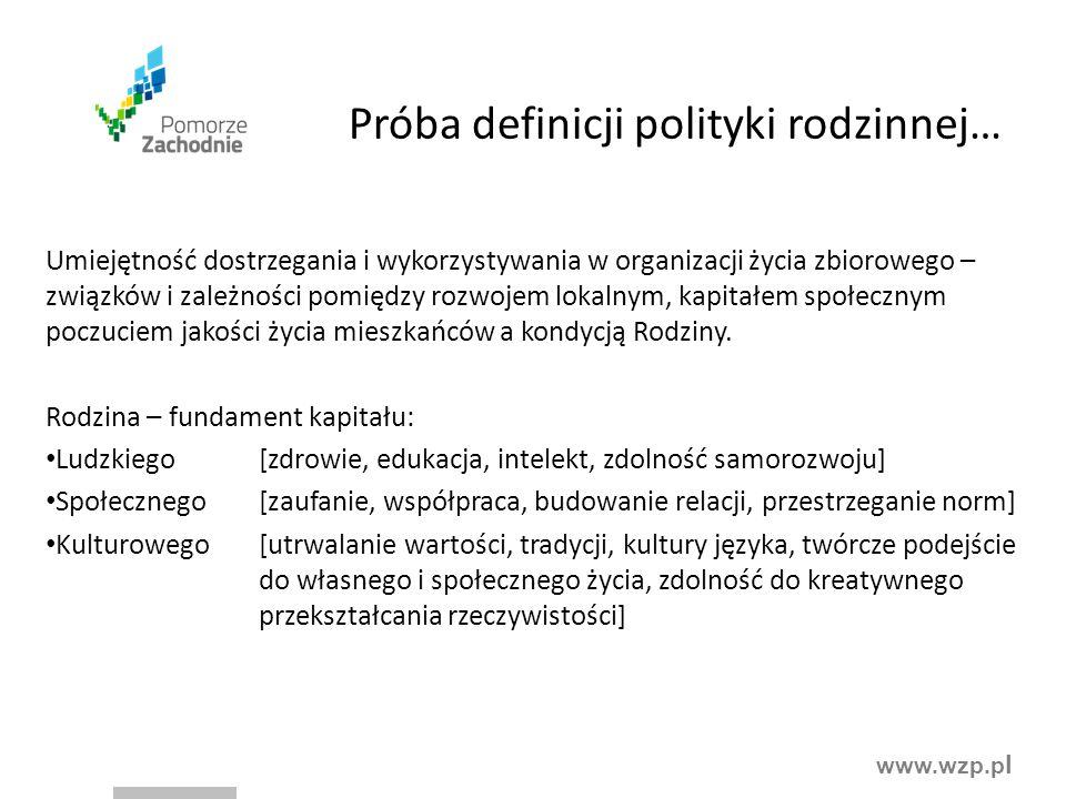 www.wzp.p l Próba definicji polityki rodzinnej… Umiejętność dostrzegania i wykorzystywania w organizacji życia zbiorowego – związków i zależności pomi