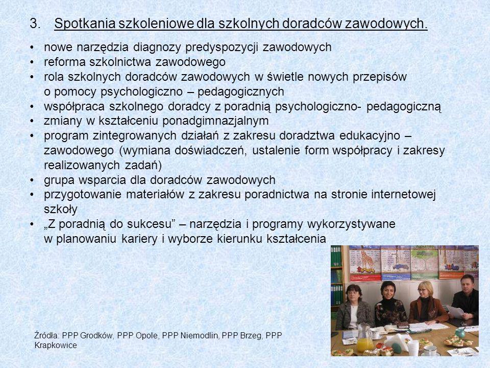 3.Spotkania szkoleniowe dla szkolnych doradców zawodowych. nowe narzędzia diagnozy predyspozycji zawodowych reforma szkolnictwa zawodowego rola szkoln