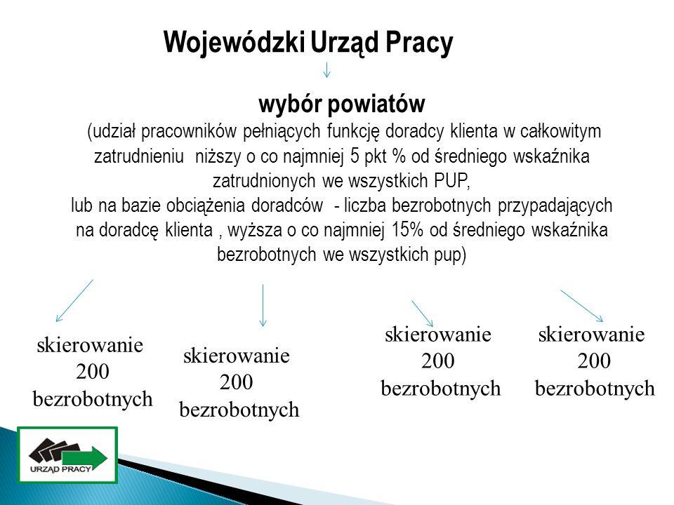 Wojewódzki Urząd Pracy skierowanie 200 bezrobotnych skierowanie 200 bezrobotnych wybór powiatów (udział pracowników pełniących funkcję doradcy klienta