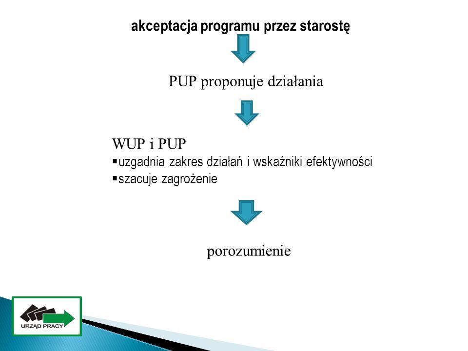 akceptacja programu przez starostę PUP proponuje działania WUP i PUP  uzgadnia zakres działań i wskaźniki efektywności  szacuje zagrożenie porozumie