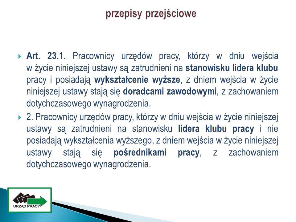  Art. 23. 1. Pracownicy urzędów pracy, którzy w dniu wejścia w życie niniejszej ustawy są zatrudnieni na stanowisku lidera klubu pracy i posiadają wy