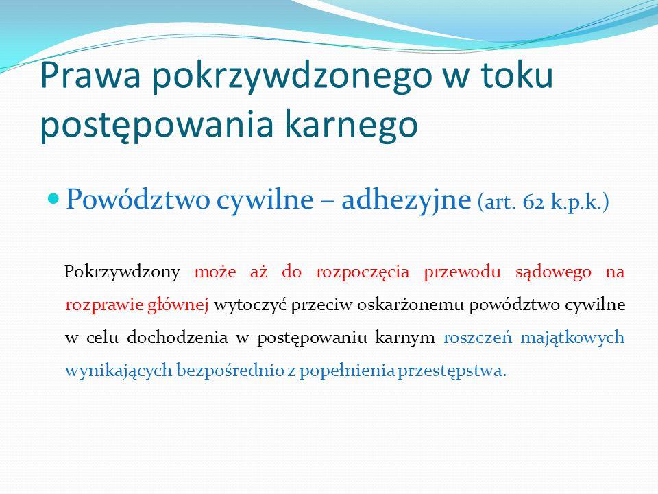 Prawa pokrzywdzonego w toku postępowania karnego Powództwo cywilne – adhezyjne (art.
