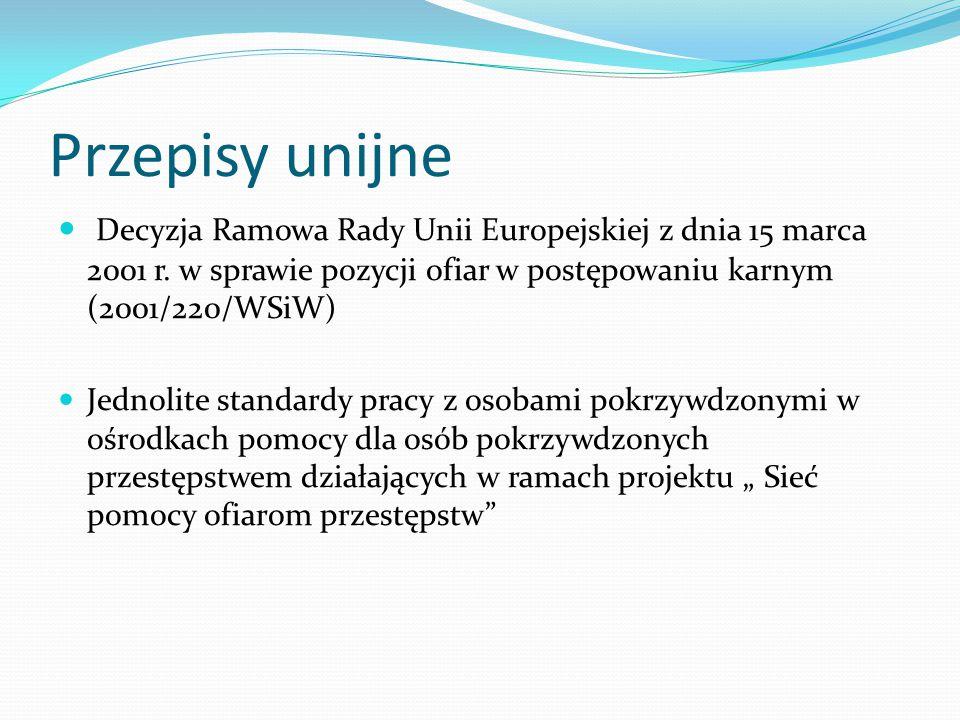 Przepisy unijne Decyzja Ramowa Rady Unii Europejskiej z dnia 15 marca 2001 r.