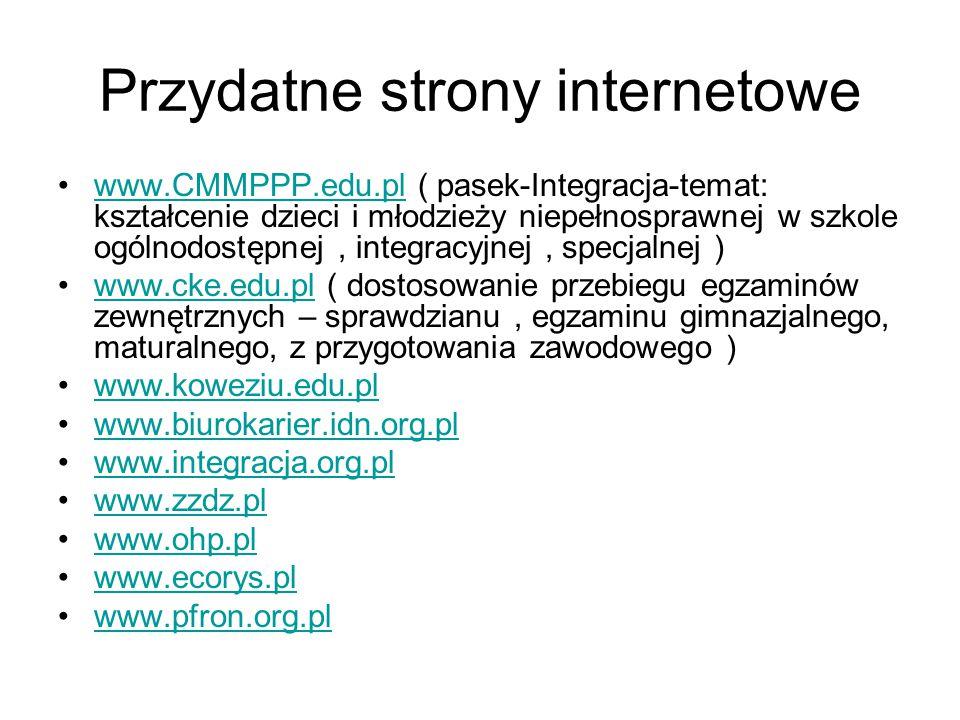 Przydatne strony internetowe www.CMMPPP.edu.pl ( pasek-Integracja-temat: kształcenie dzieci i młodzieży niepełnosprawnej w szkole ogólnodostępnej, int