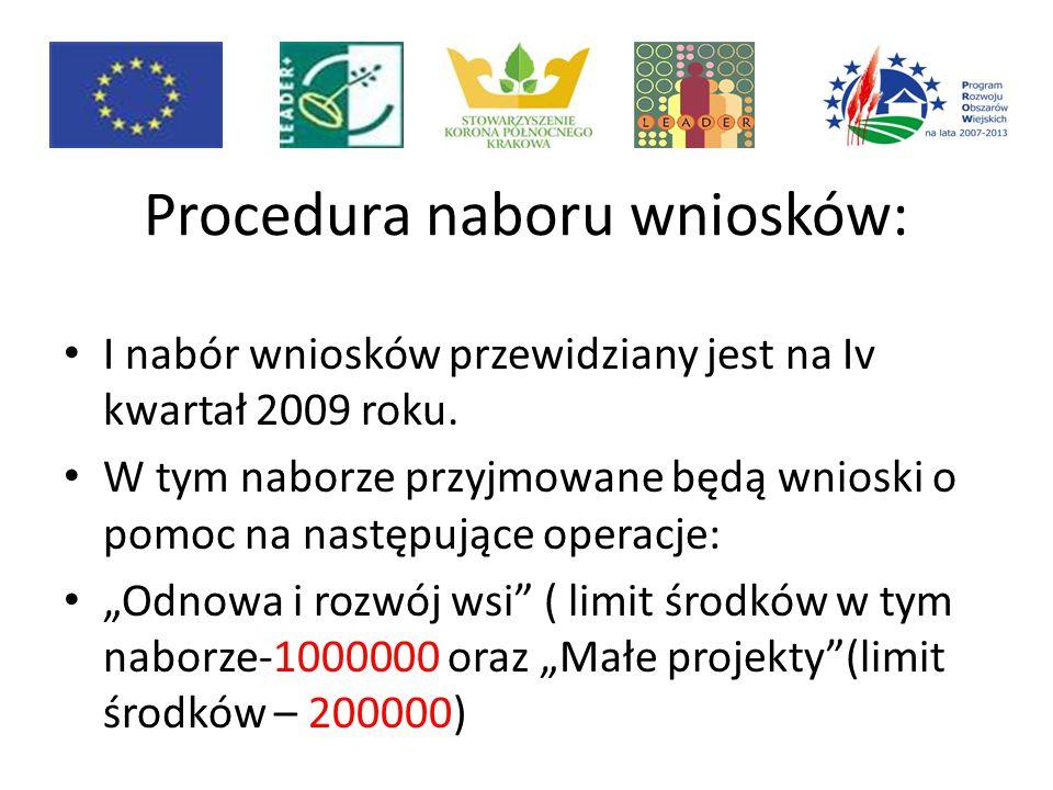 Procedura naboru wniosków: I nabór wniosków przewidziany jest na Iv kwartał 2009 roku. W tym naborze przyjmowane będą wnioski o pomoc na następujące o