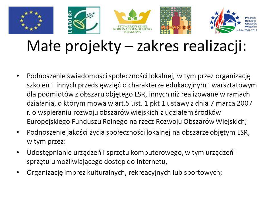 Małe projekty – zakres realizacji: Podnoszenie świadomości społeczności lokalnej, w tym przez organizację szkoleń i innych przedsięwzięć o charakterze