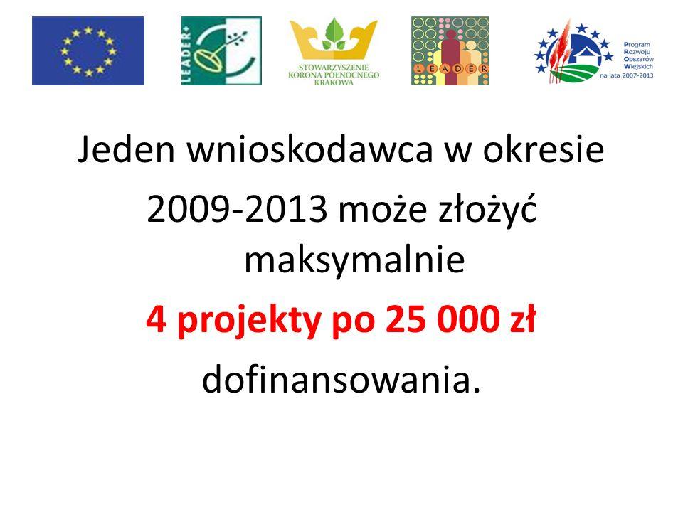 Jeden wnioskodawca w okresie 2009-2013 może złożyć maksymalnie 4 projekty po 25 000 zł dofinansowania.